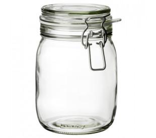 Pote de vidro com presilha